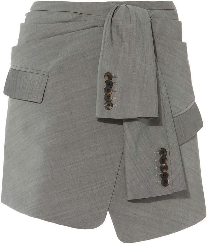 Alexander Wang Asymmetric Tie Front Skirt