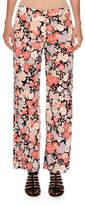 Agnona Floral-Print Wide-Leg Pants, Coral Floral