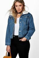 Boohoo Plus Miranda Borg Collar Denim Jacket