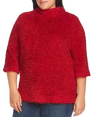 Vince Camuto Plus Eyelash Textured Mock-Neck Sweater