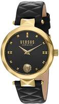 Versus By Versace Versus Versace Women's 'COVENT GARDEN' Quartz Stainless Steel and Leather Casual Watch, Color:Black (Model: SCD050016)