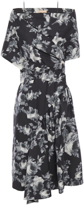 Michael Kors Draped Floral-print Wool And Silk-blend Dress