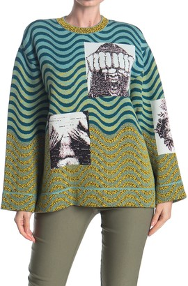 M Missoni Graphic Patterned Bell Sleeve Sweater