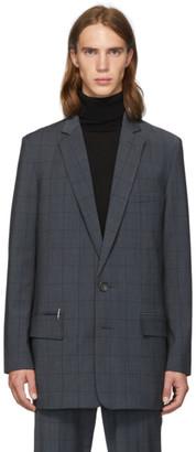 Tibi SSENSE Exclusive Grey Wool Windowpane Check Long Blazer