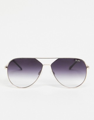Quay Hold Please womens aviator sunglasses in gold