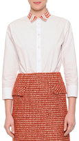 Bottega Veneta Laminated Print-Collar Button Blouse