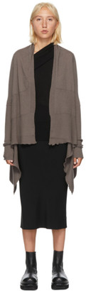 Rick Owens Brown Cashmere Medium Wrap Cardigan