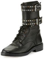 Isabel Marant Teylon Studded Ankle-Cuff Moto Boot, Black