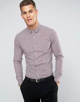 Asos Skinny Mini Gingham Check Shirt In Burgundy