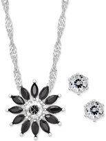 Charter Club Silver-Tone Black Crystal Floral Pendant Necklace and Earrings Set, Only at Macy's