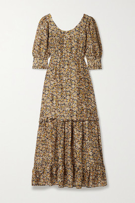 Rixo Kiara Ruffled Floral-print Silk Maxi Dress - Brown