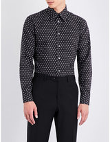 Brioni Branded Pinstriped-print Regular-fit Cotton Shirt