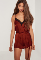 Missguided Silky Eyelash Lace Playsuit Red