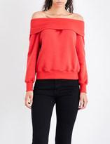 Good American Off-the-shoulder cotton-jersey sweatshirt