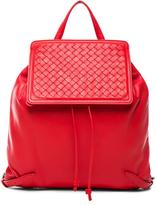 Bottega Veneta Woven Leather Backpack in Red.