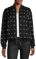 McQ Casual Swallow-Print Bomber Jacket, Darkest Black