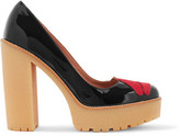 RED Valentino Appliquéd Patent-Leather Pumps