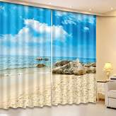 3D Curtain Drapes Ocean Theme by LB, Window Curtain for Living Room Bedroom and Kids Room, Image of Sand Beach and Vast Blue Sea Sky 2 Panels Set, 80Wx84L(Size of 2 Panels)