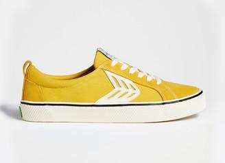 Cariuma CATIBA Low Stripe Spice Yellow Suede and Canvas Contrast Thread Sneaker Men