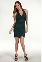 Halston Halter Basketweave Dress (Moss) - Apparel