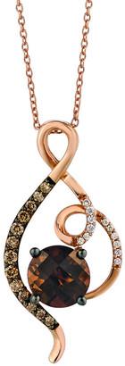LeVian Le Vian 14K Rose Gold 1.90 Ct. Tw. Diamond & Chocolate Quartz Pendant Necklace