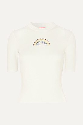 STAUD Public Embroidered Ribbed Cotton T-shirt - White