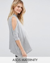 Asos Top With Cold Shoulder and High Neck