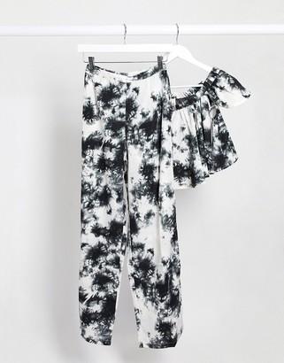Raga smoke & love split leg trousers in tye dye