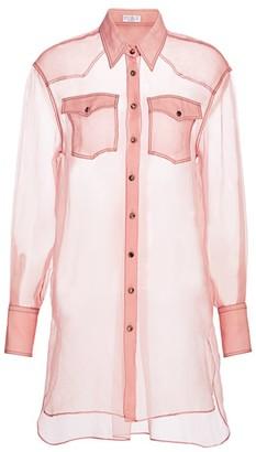 Brunello Cucinelli Sheer Organza Long-Line Shirt