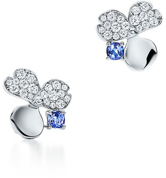 Tiffany & Co. Paper Flowers diamond and tanzanite flower earrings in platinum