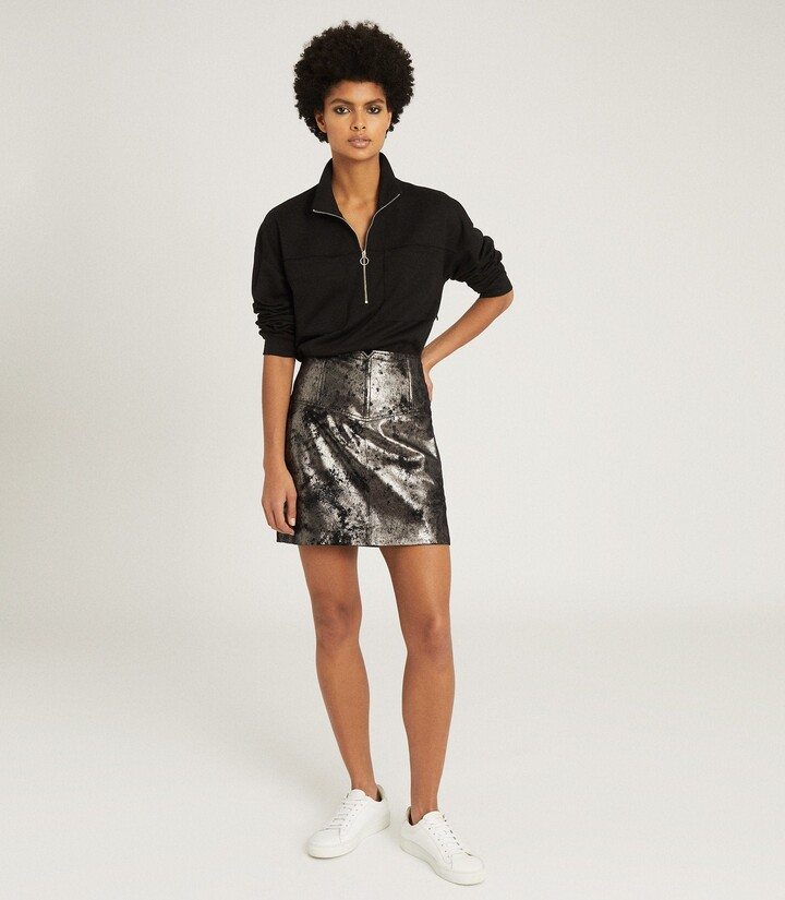 Thumbnail for your product : Reiss Fallon - Leather Mini Skirt in Silver