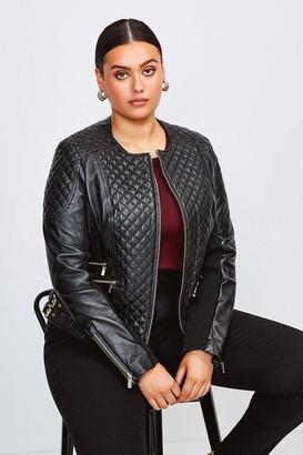 Karen Millen Curve Leather Quilted Jacket