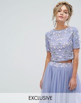 Lace and Beads Lace & Beads Short Sleeved Crop Top With 3D Embellishment Co-ord