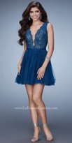 La Femme Scalloped Rhinestone Tulle Homecoming Dress