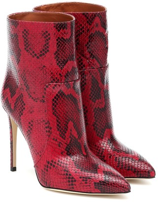 Paris Texas Python-print leather ankle boots