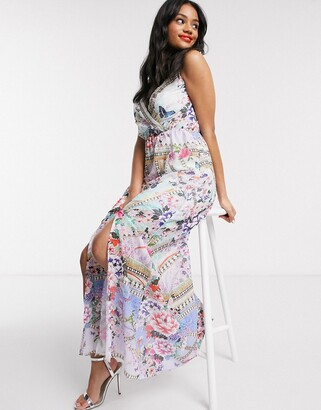 Lipsy x Abbey Clancy wrap front maxi dress in paisley print
