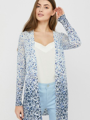 Monsoon Poppy Print Linen Blend Cardigan - Blue