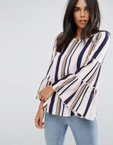 AX Paris Long Sleeve Striped Bell Sleeve Top
