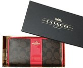 Coach Womens Imitation Signature Coated Canvas With Leather Stripe Accordion Zip Wallet Gift Box F55733 Iml72