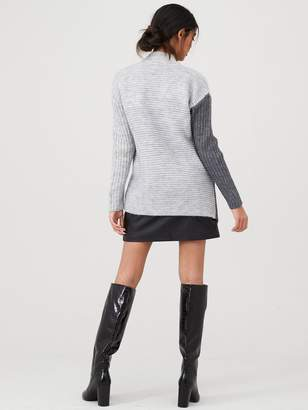 River Island Blocked Cable Knit Turtle Neck Jumper-grey