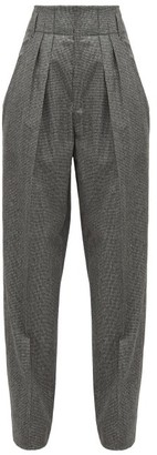 Isabel Marant Magali High-rise Houndstooth Wool Trousers - Dark Grey