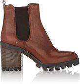 Barneys New York WOMEN'S LUG-SOLE LEATHER CHELSEA BOOTS-BROWN SIZE 5