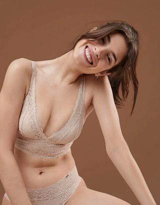 Dorina Tone On Tone Lana Nude Non Padded Bralette In Fair