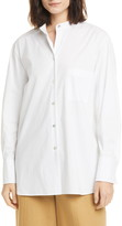 Vince Classic Stripe Band Collar Cotton Blend Shirt