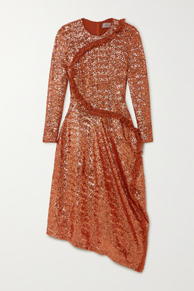Preen by Thornton Bregazzi Yasmeen Asymmetric Lace-trimmed Sequined Mesh Midi Dress - Copper