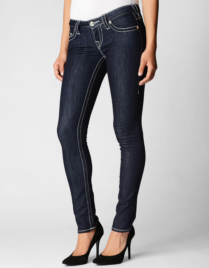 True Religion Womens Hand Picked Skinny Caramel Big T Jean