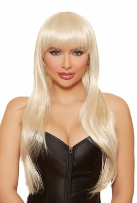 Dreamgirl Women's Long Straight Layered Platinum Blonde Wig One Size