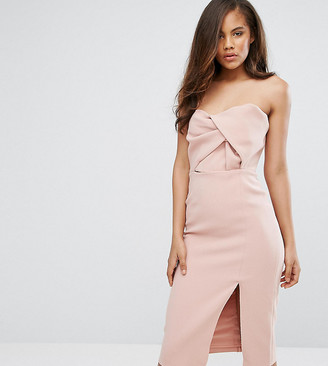True Decadence Tall Exagerated Bow Detail Bandeau Midi Dress-Pink