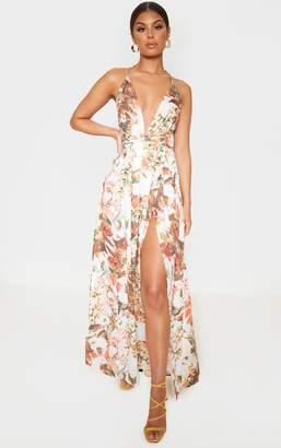 PrettyLittleThing White Floral Print Chiffon Halterneck Maxi Dress