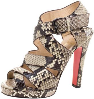 Christian Louboutin Two Tone Python Leather Criss Cross Strap Platform Sandals Size 37